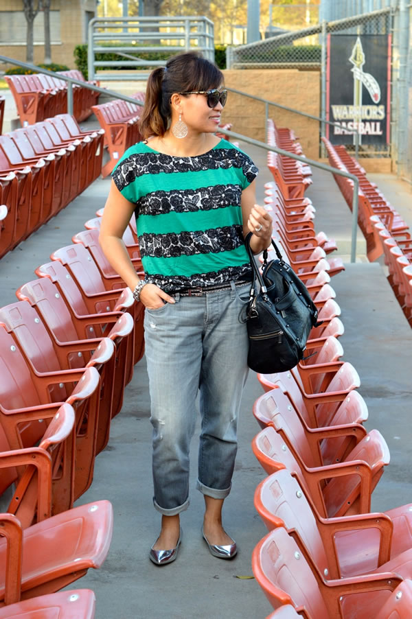 boyfriend jeans with blue green striped top | 40plusstyle.com