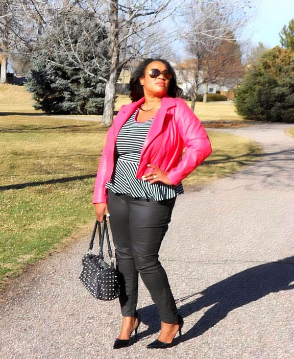black skinnies with stripes and pink jacket | 40plusstyle.com