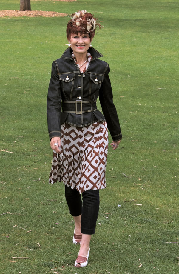 Judith wearing a dress and jacket over leggings | 40plusstyle.com