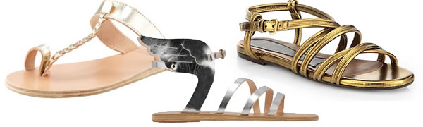 silver and gold sandals - one of summer 2014's shoe trends!   40plusstyle.com