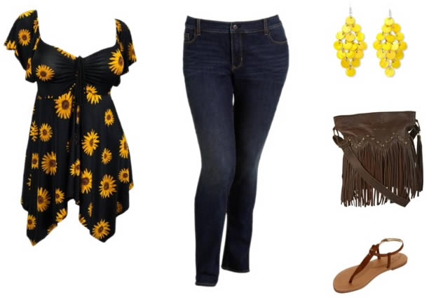 jeans with sunflowers and fringe bag | 40plusstyle.com