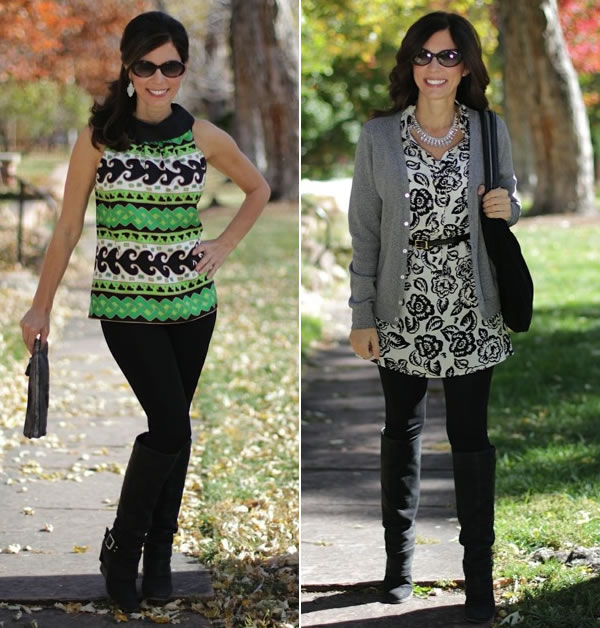Ana wearing printed tunic over black pants | 40plusstyle.com