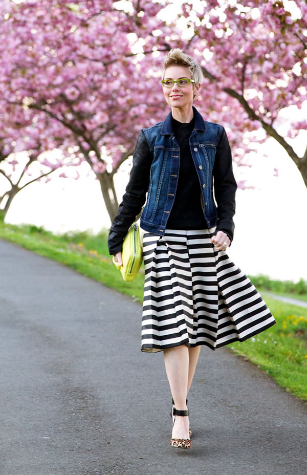 striped skirt with denim jacket | 40plusstyle.com