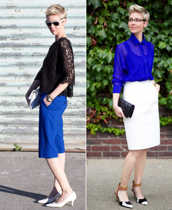 lovely combinations with cobalt blue, white and black | 40plusstyle.com