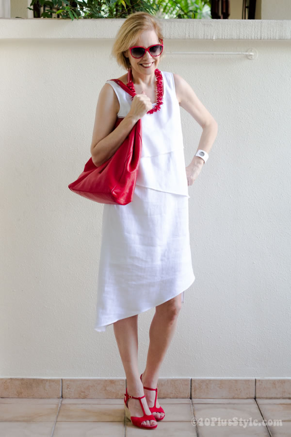 White asymmetrical Stella Carakasi dress | 40plusstyle.com