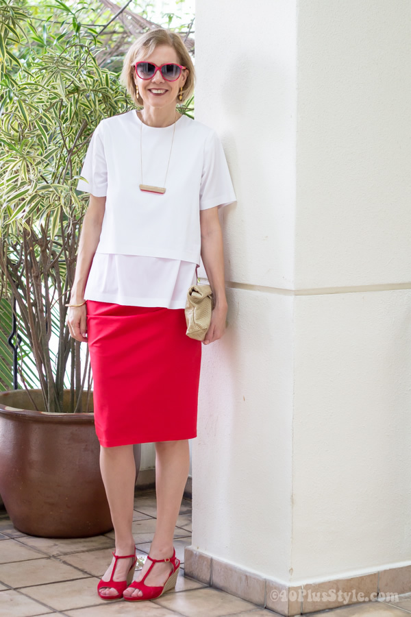 red Donna Karan skirt with white In Good Company blouse | 40plusstyle.com