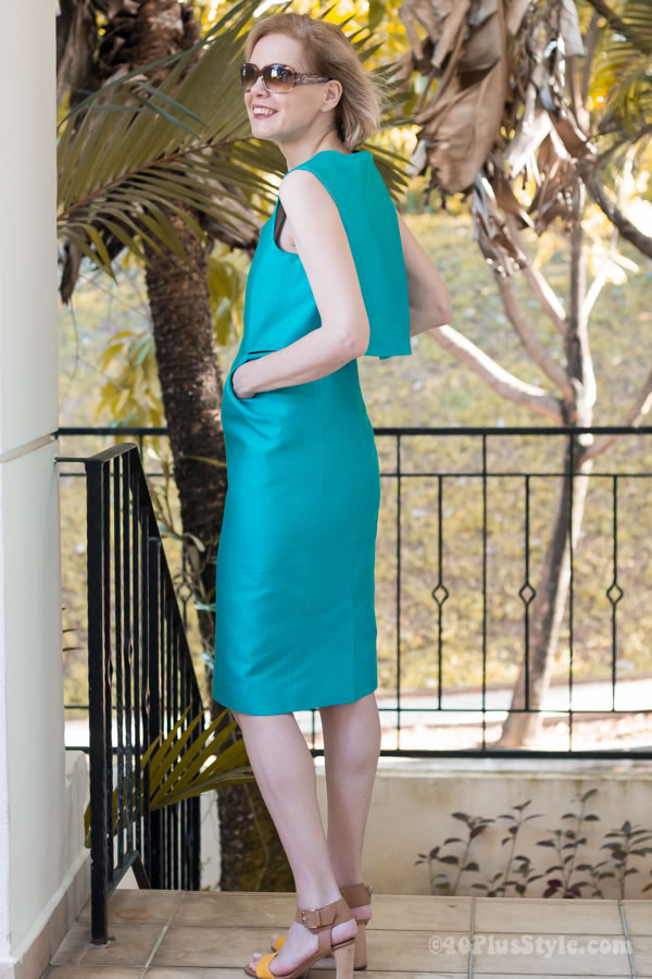 The blue green party dress by Cos | 40plusstyle.com
