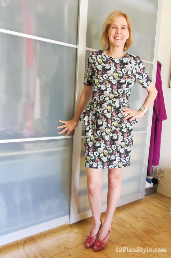 Wearing a short flower dress in a swapping clothes experiment | 40plusstyle