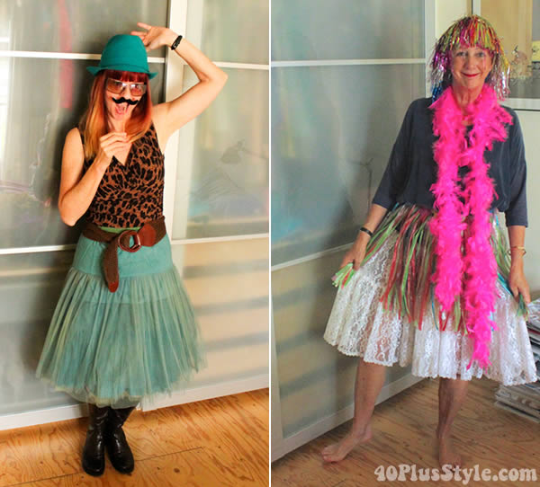 bloggers dressing up in funny costume | 40plusstyle.com