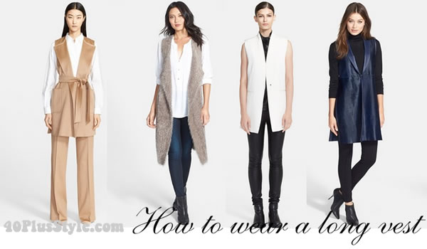 How to wear a long vest | 40plusstyle.com