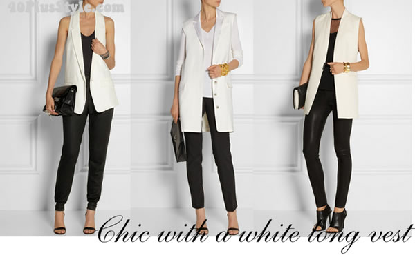Wearing a long vest the ultra chic way in black and whit | 40plusstyle.com