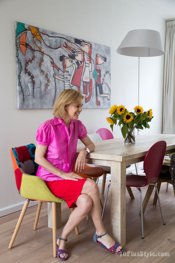red pencil skirt with pink puffed sleeve blouse   40plusstyle.com