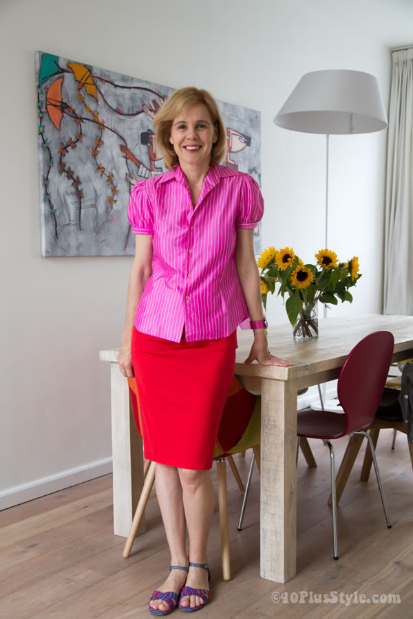 Wearing pink with red   40plusstyle.com
