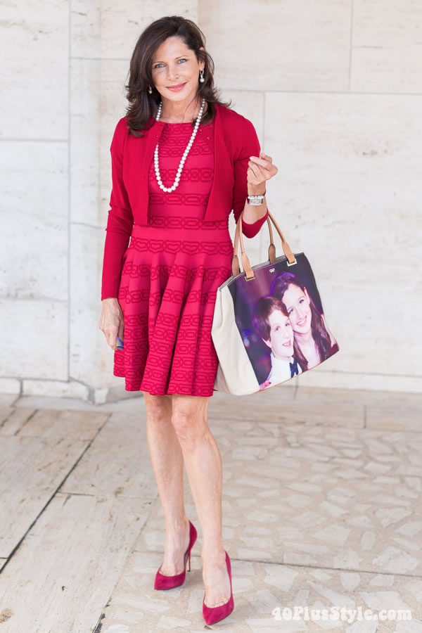 Wearing a red dress and jacket | 40plusstyle.com