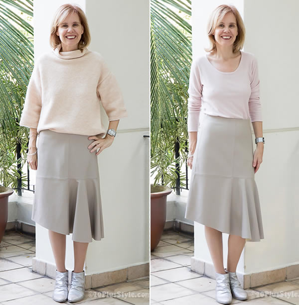 How I wear my bulky peach sweater and bulky versus fitted compared!