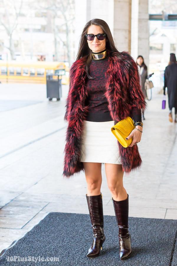 Fur Coat Yellow Purse | 40plusstyle.com