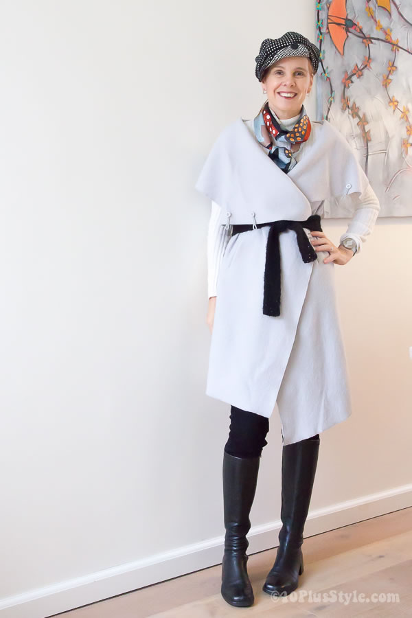 Silk Scarf Layers Winter Knee High Boots | 40plusstyle.com