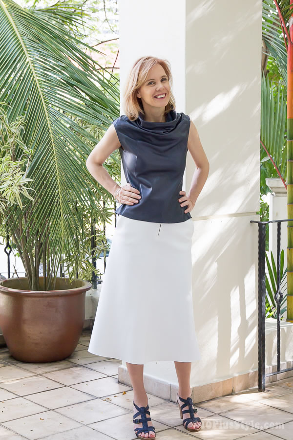 how to wear a leather top with a skirt