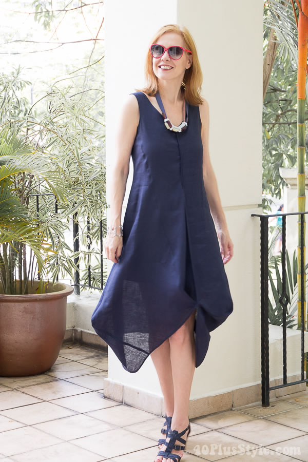 A blue draped dress for hot summer weather | 40plusstyle.com