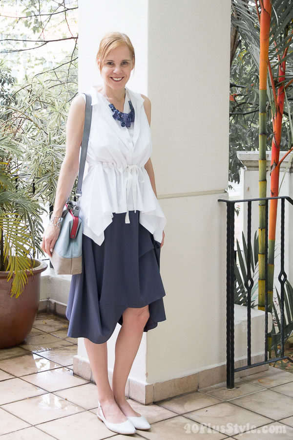 In Good company blouse with Porto skirt | 40plusstyle.com