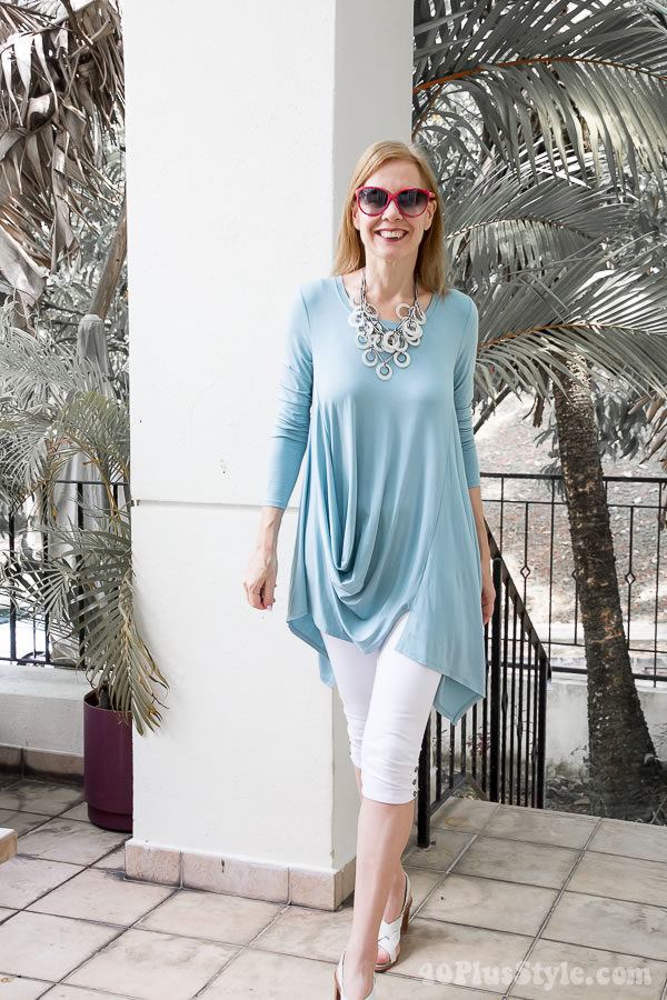 mint tunic with leggings | 40plusstyle.com