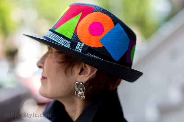Colorful, graphical hat | 40plusstyle.com