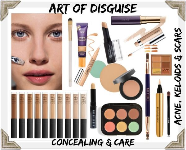 to conceal a spot, scar or other blemish with makeup: the art of ...