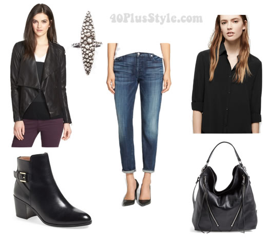 Fabulous and on sale this week: Jeans worn in 4 different ways: biker chic | 40plusstyle.com