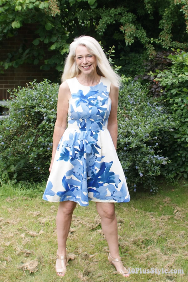blue and whit dress | 40plussstyle.com