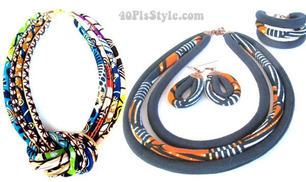 Handmade African inspired jewelry made mostly from African fabrics and West African recycled glass beads | 40plusstyle.com