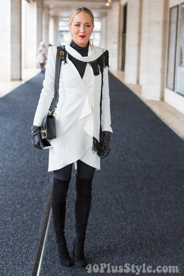 Fringed Coat Suede Thigh High Boots | 40plusstyle.com