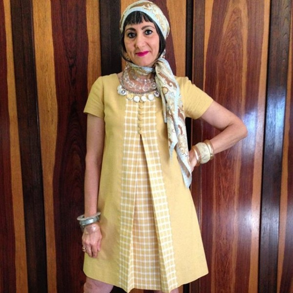 60's a-line mod dress with headscarf retro | 40plusstyle.com