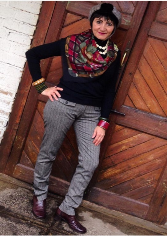 Black long sleeve top, striped trousers, and checkered scarf   40plusstyle.com