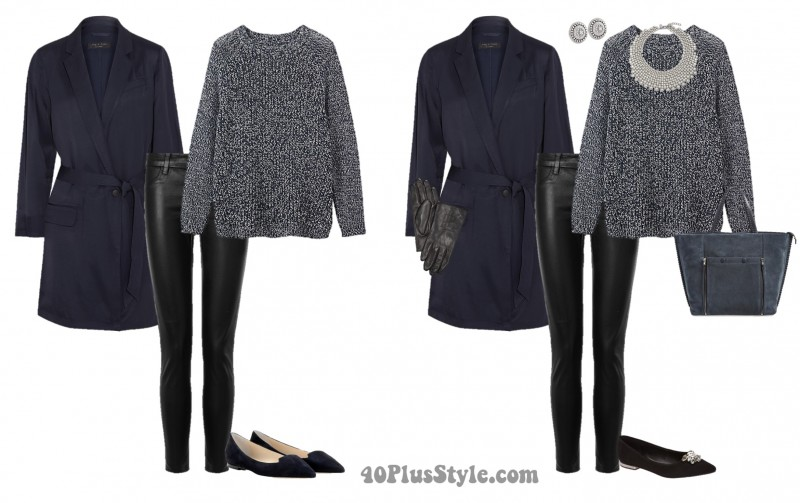 leather pants navy sweater gloves statement necklace| 40plusstyle.com