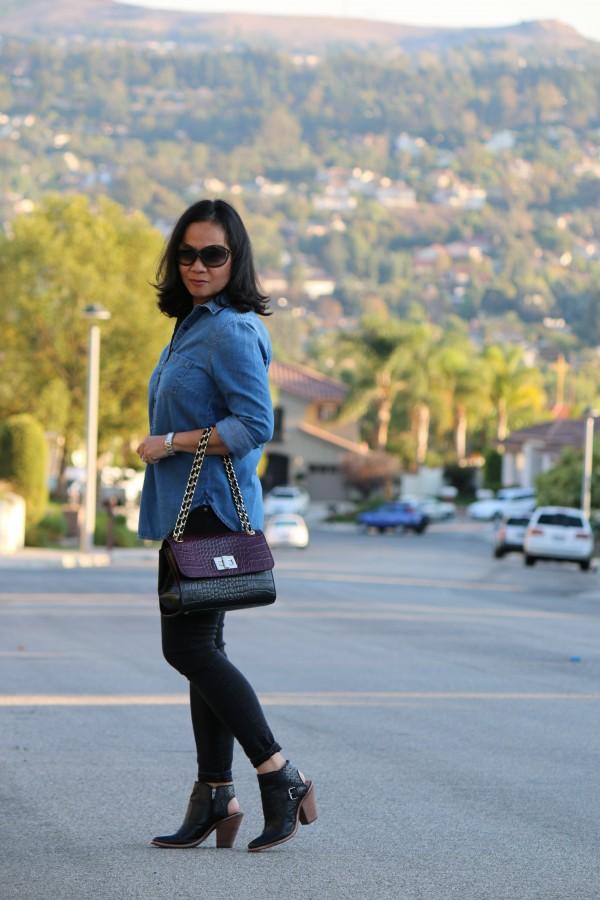 denim shirt slingback boots | 40plusstyle.com