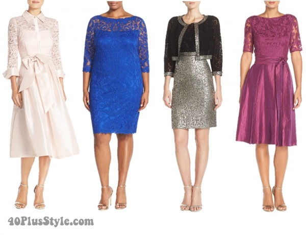 Mother of the Bride Dresses blue silver black pink lace sequins | 40plusstyle.com