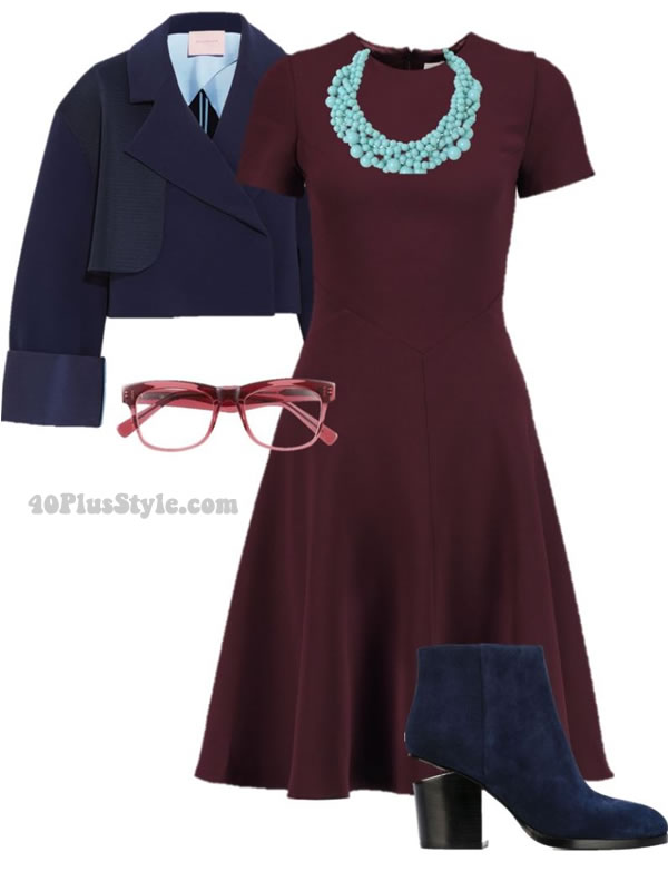 artsy look dress colorful burgundy blue | 40plusstyle.com
