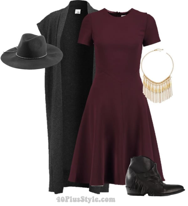 bohemian chic look western boots dress | 40plusstyle.com