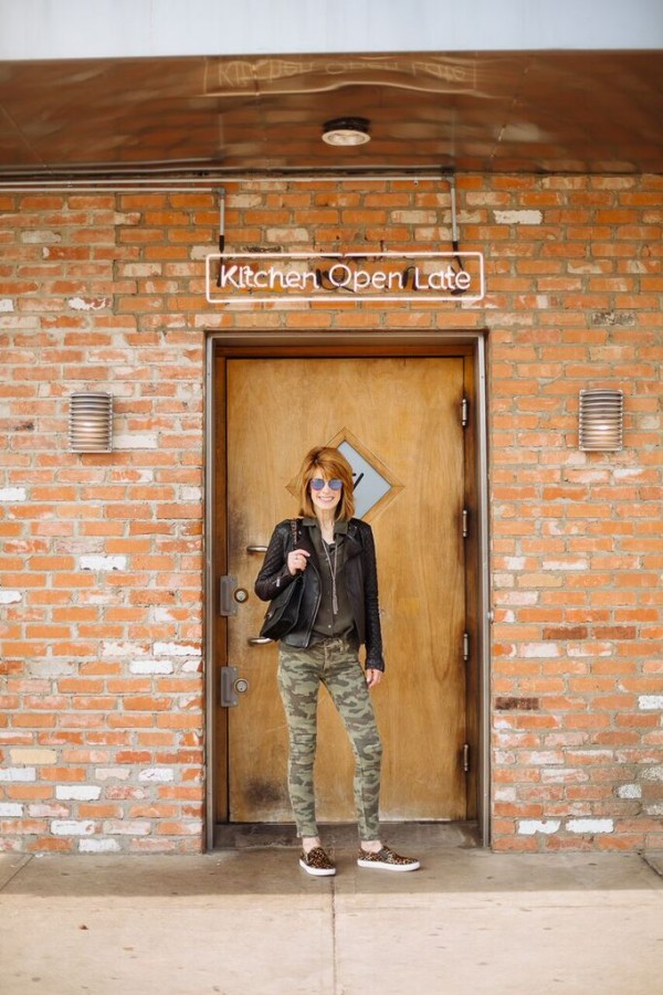 animal print flats camo pants | 40plusstyle.com
