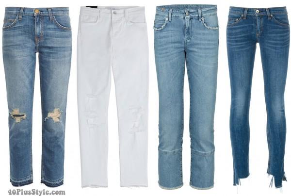 distressed hem jeans | 40plusstyle.com