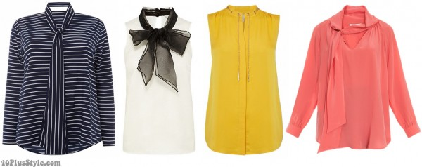 tie neck blouse yellow pink organza | 40plusstyle.com