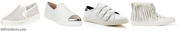 sporty chic white sneakers spring | 40plusstyle.com