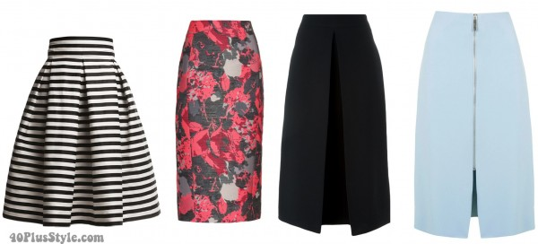 floral striped midi skirt spring style | 40plusstyle.com
