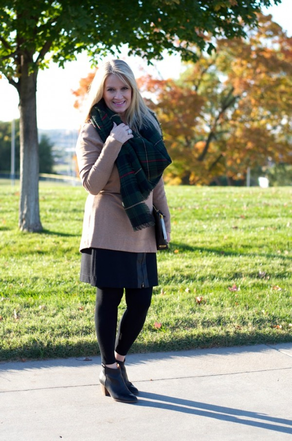 booties tan jacket plaid scarf | 40plusstyle.com