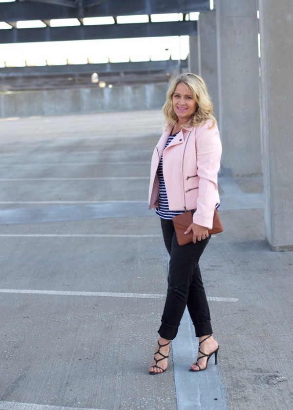 pink jacket black heels blue white striped top | 40plusstyle.com