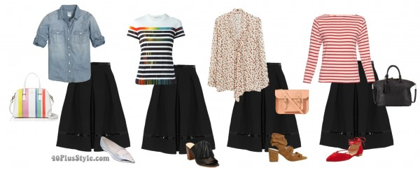 black skirt casual looks tie up flats stripes | 40plusstyle.com