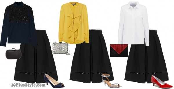 evening looks spring black skirt | 40plusstyle.com