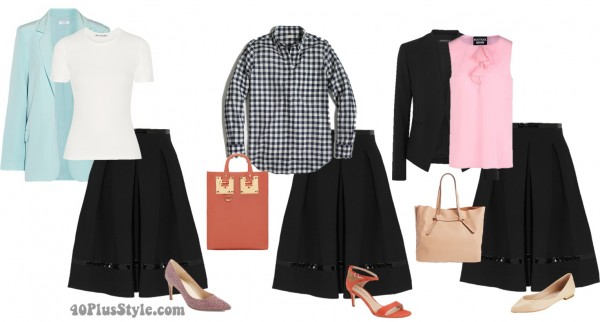 office looks black skirt spring | 40plusstyle.com