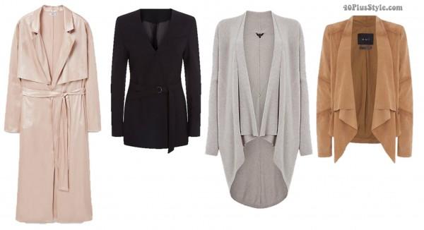 apple body shape flattering jackets coats | 40plusstyle.com