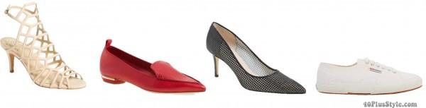 apple body shape flattering shoe styles | 40plusstyle.com